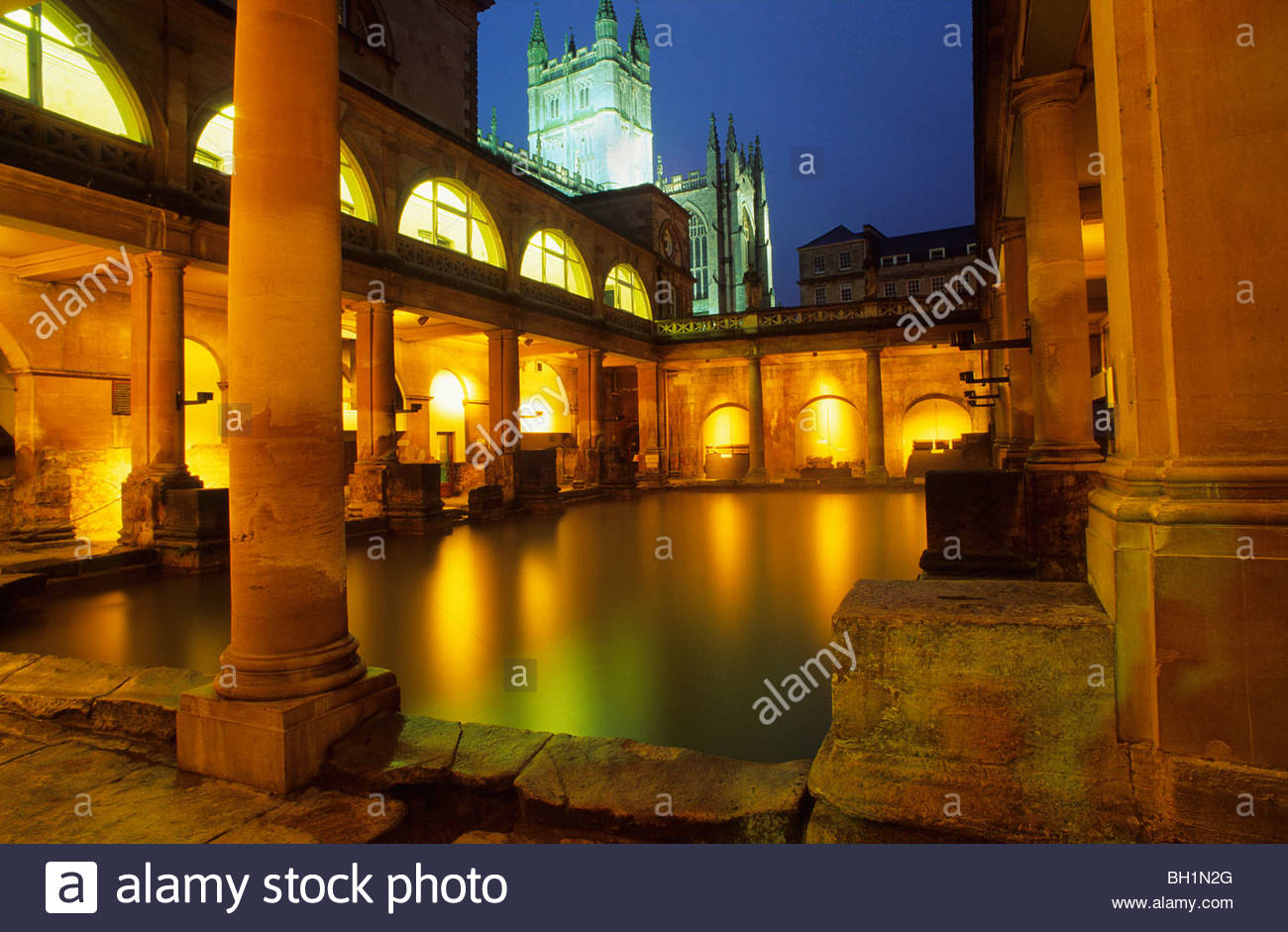Europe, Great Britain, England, Avon, Bath, roman bath - Stock Image