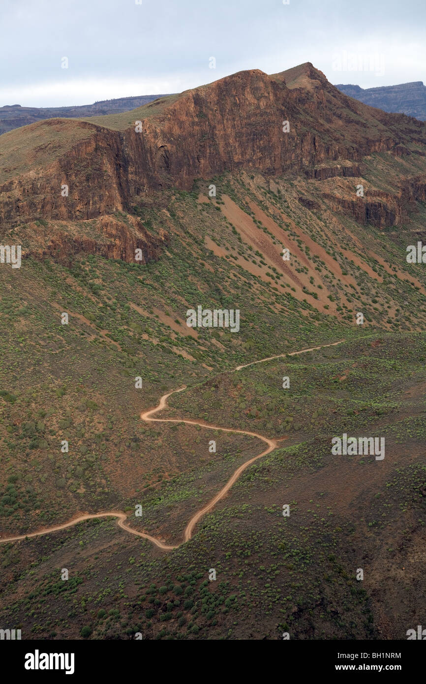 Europe, Spain, Canary Islands, Grand Carary, hinterland ,mountain road - Stock Image