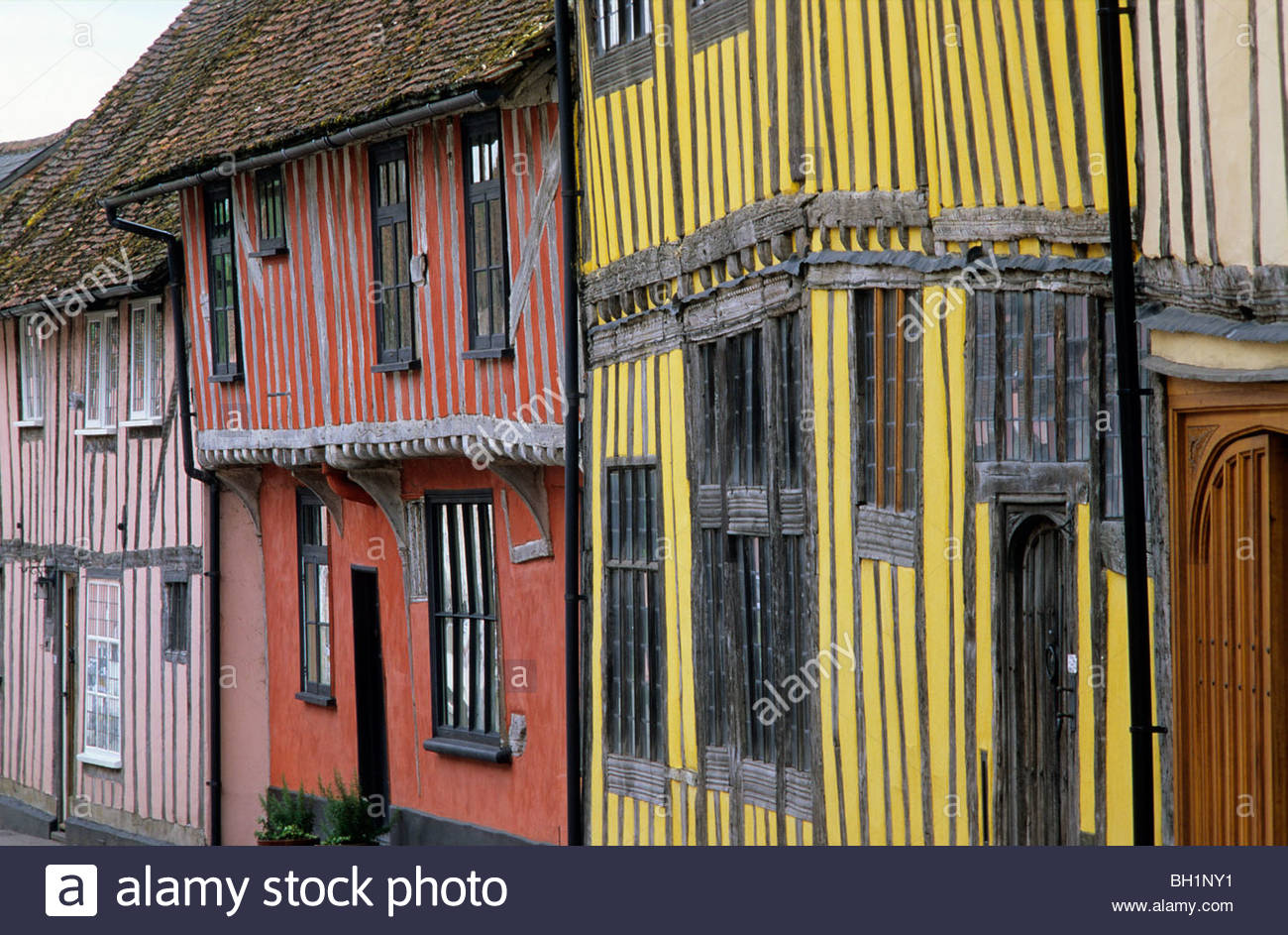 Europe, England, Suffolk, Lavenham, East Anglia, half timbered houses - Stock Image