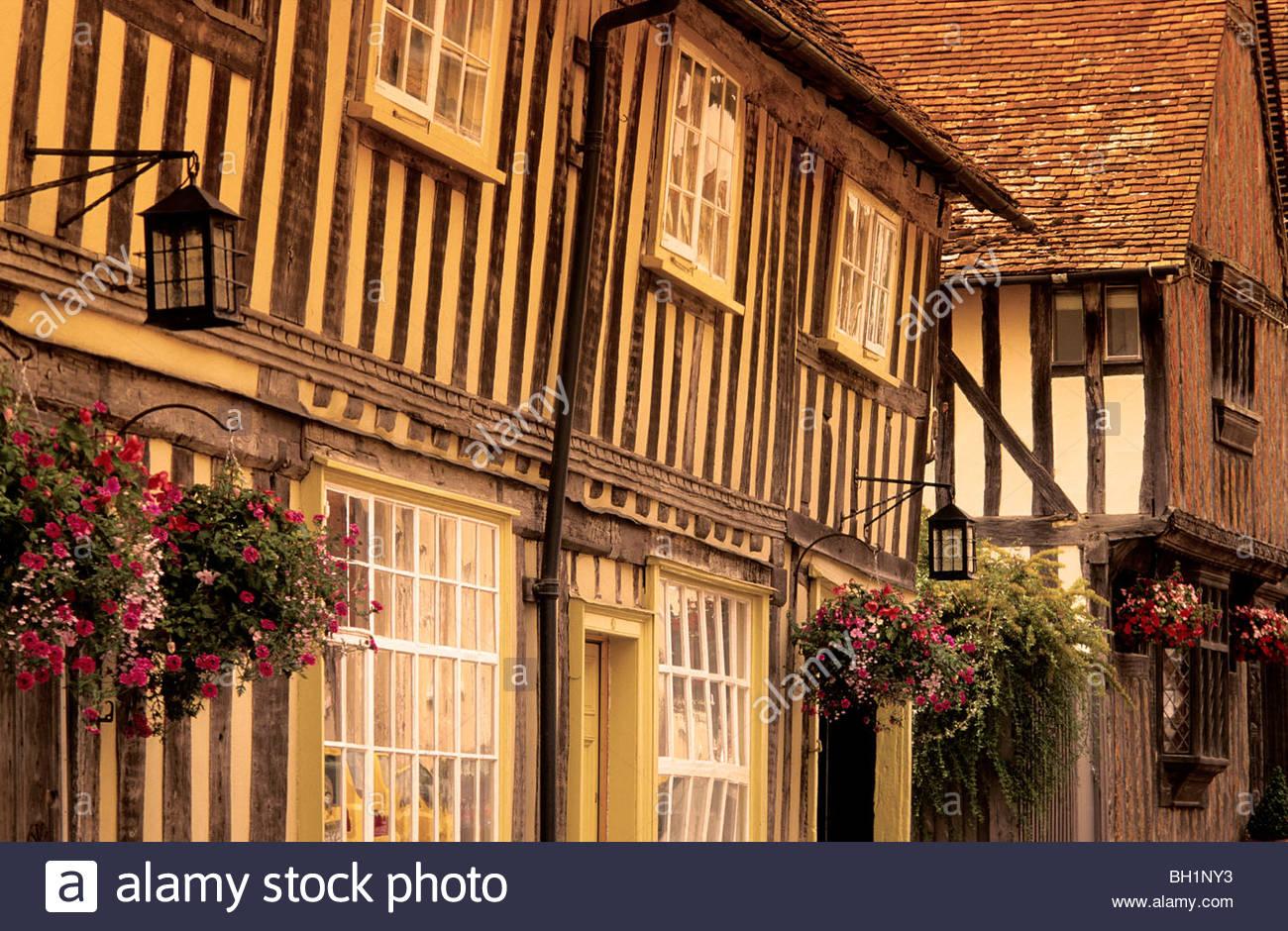 Europe, England, Suffolk, Lavenham, East Anglia, half timbered houses - Stock Image
