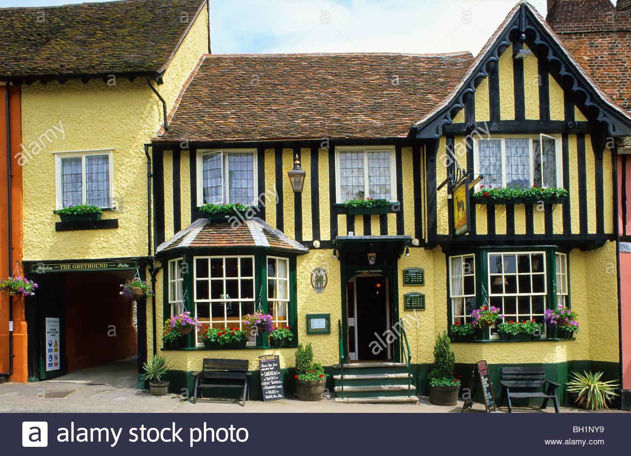 Europe, England, Suffolk, Lavenham, East Anglia, Pub The Greyhound - Stock Image
