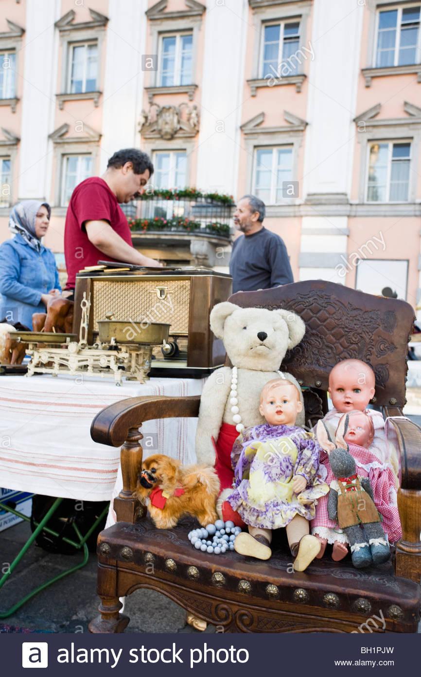 Antique market on the main square in Linz every Saturday, Linz, Upper Ausrtia, Austria - Stock Image