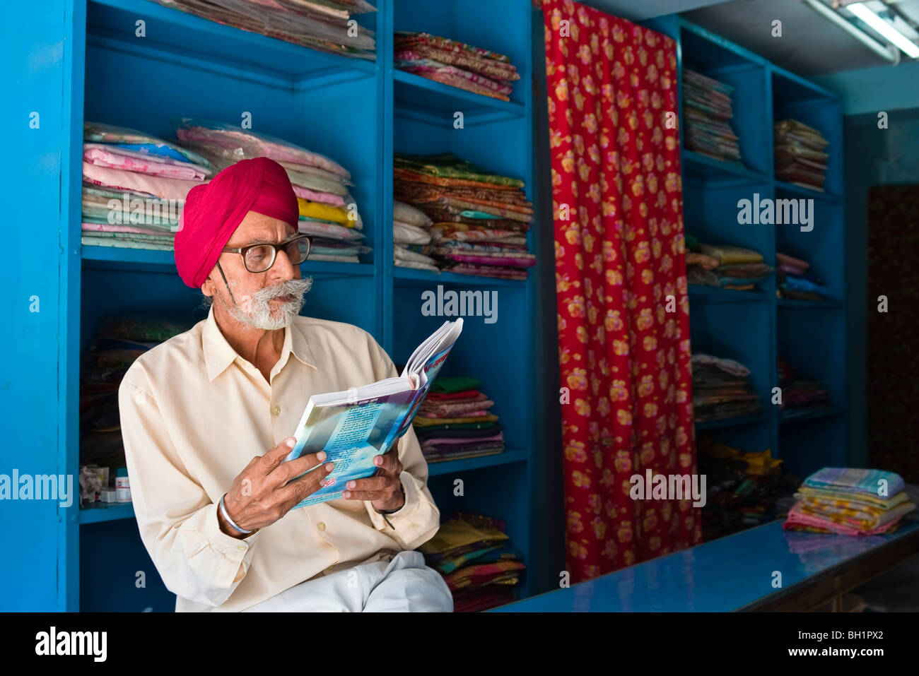 fabric merchant, sikh, Port Blair, Andaman Islands, India - Stock Image