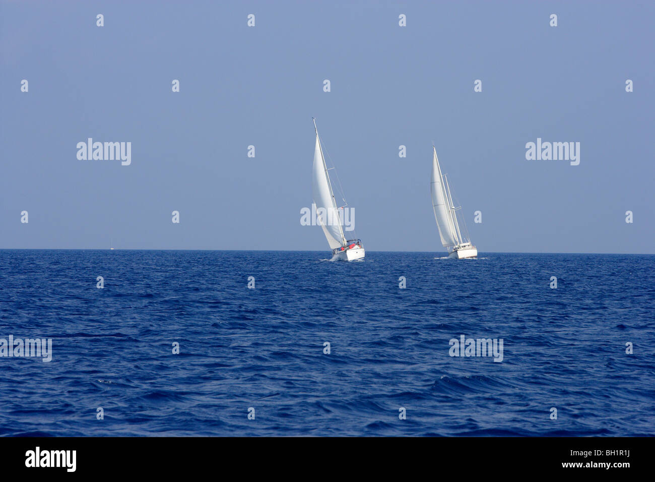 Two sailing boats on the sea, Ionian Islands, Greece - Stock Image
