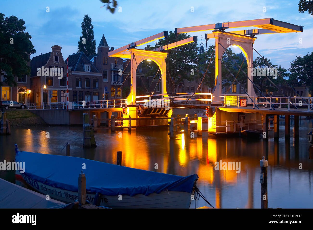 View at a bascule bridge at the river Vecht in the evening, Weesp, Netherlands, Europe - Stock Image