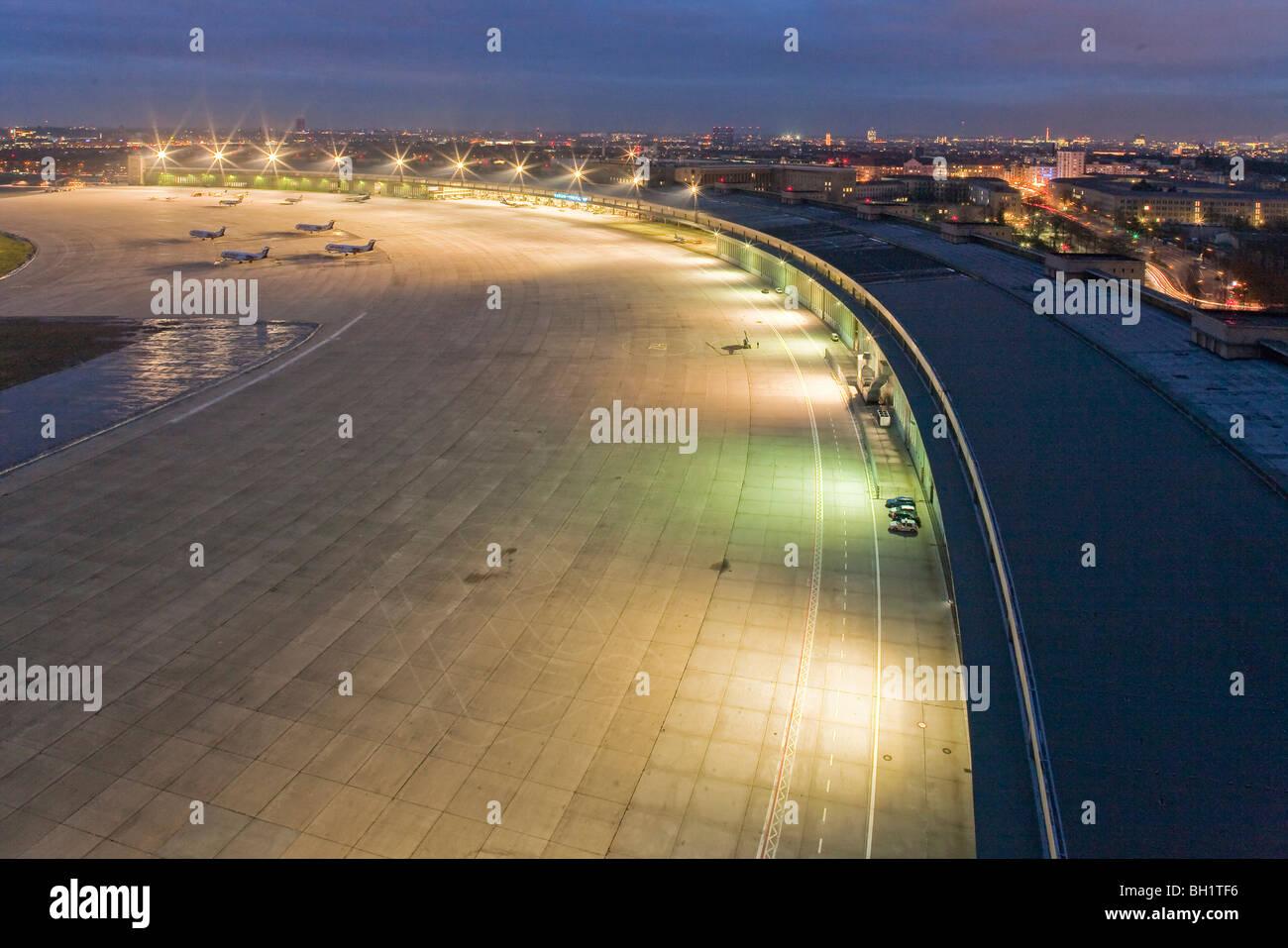 Tempelhof Airport at night, apron, runway, Berlin, Germany - Stock Image