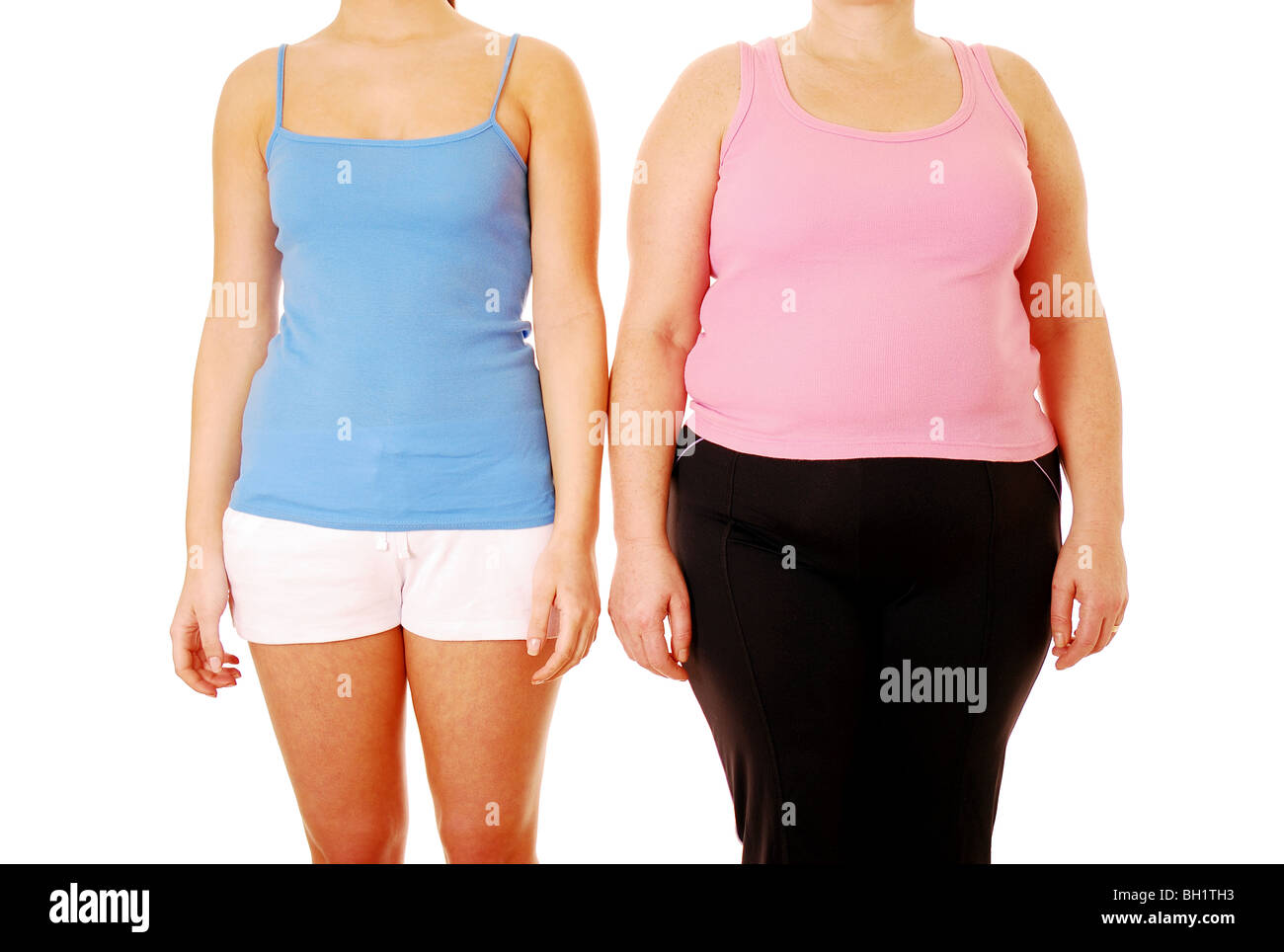 Comparison of two different body shapes Stock Photo