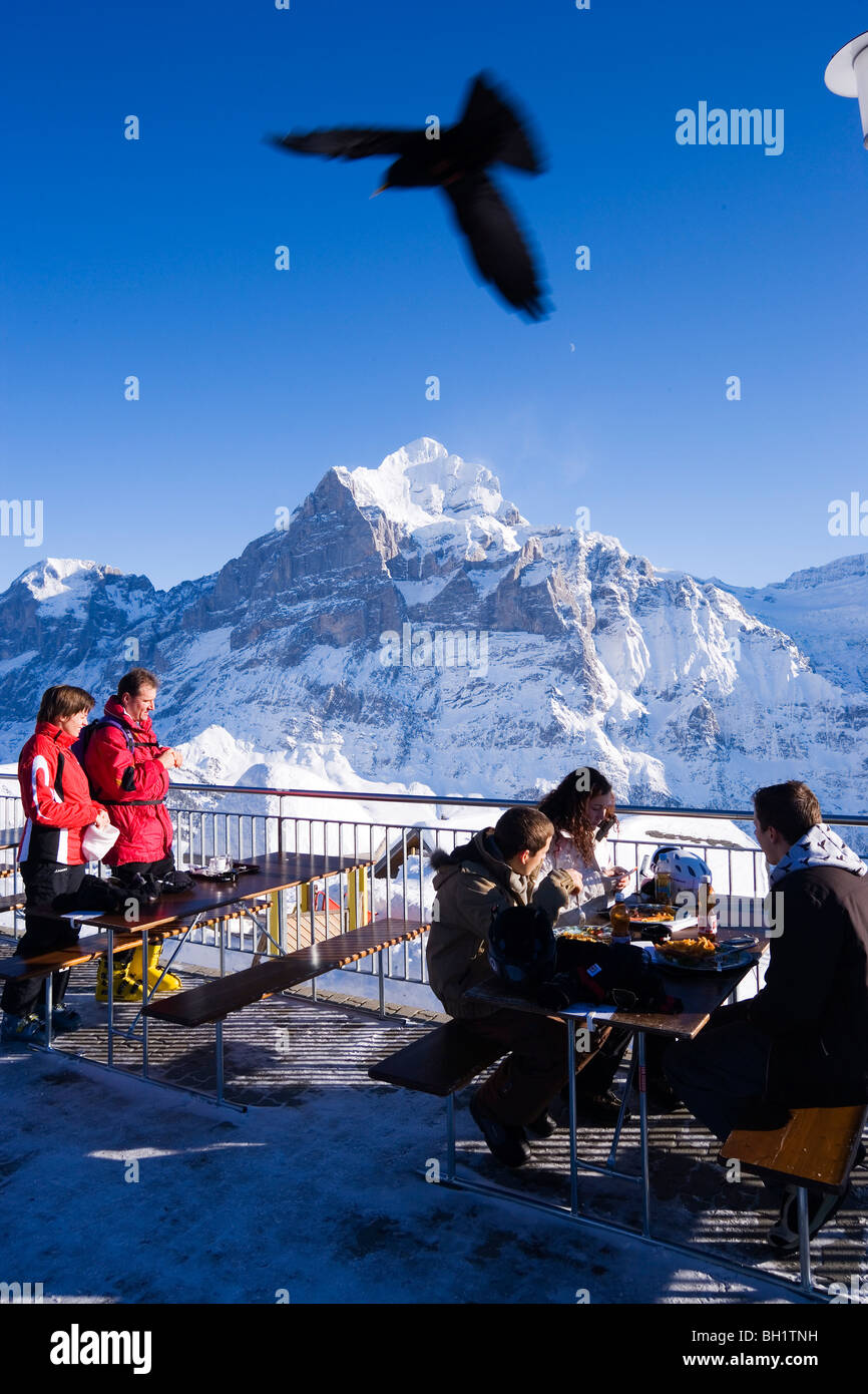 Guests on terrace of the mountain restaurant First, Wetterhorn in background, First, Grindelwald, Bernese Oberland, - Stock Image