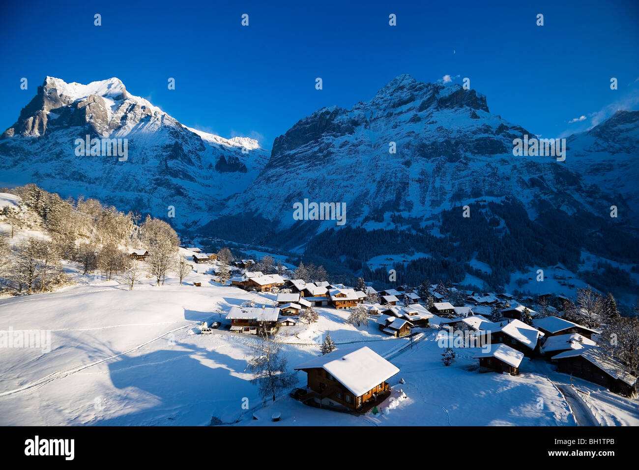 View over Grindelwald with mountain Wetterhorn and Schreckhorn in background, Grindelwald, Bernese Oberland, Canton - Stock Image