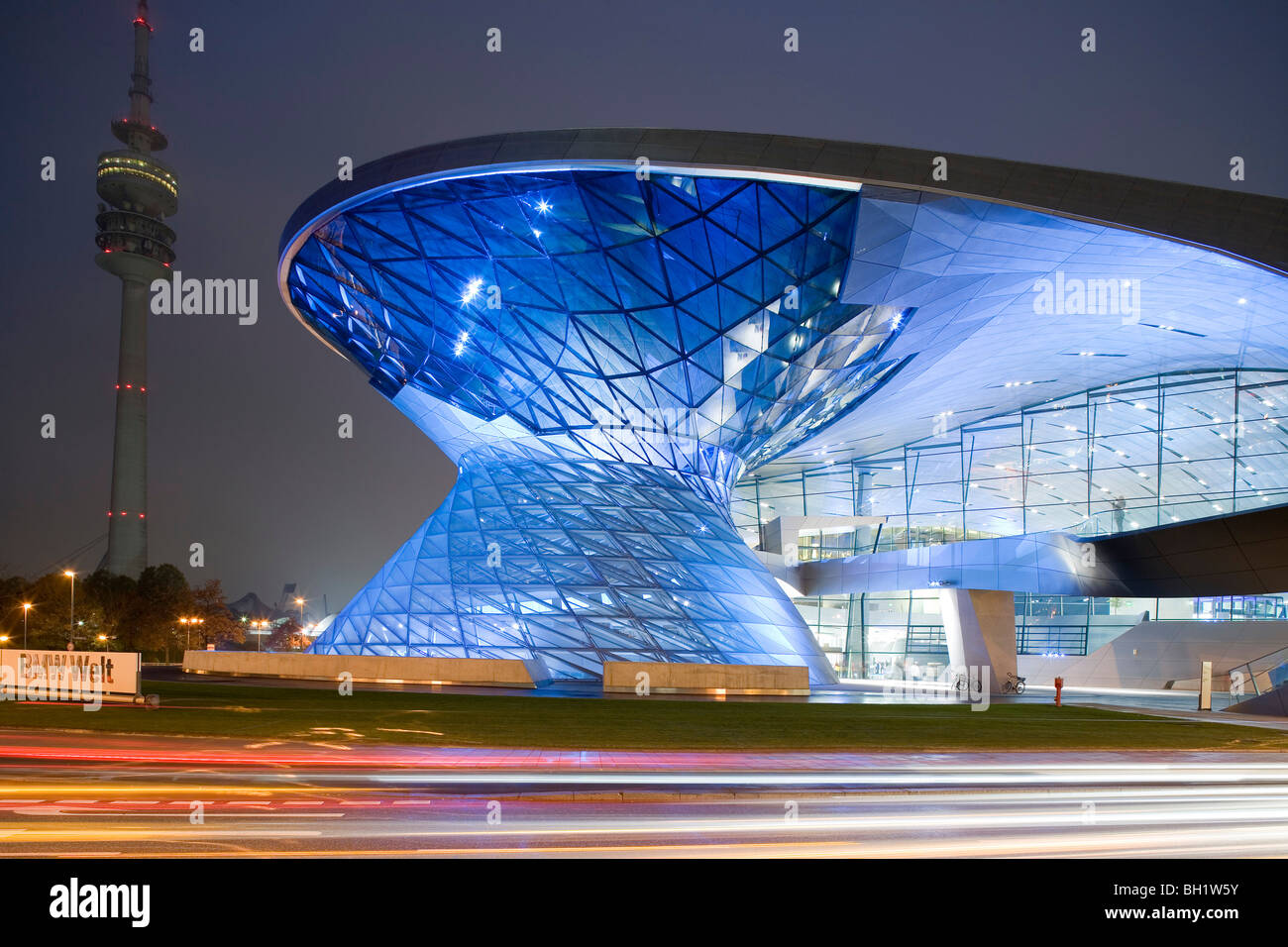 BMW Welt. Designed by architect Wolfgang Prix, Coop Himmelb(l)au, a multi-functional customer experience and exhibition - Stock Image
