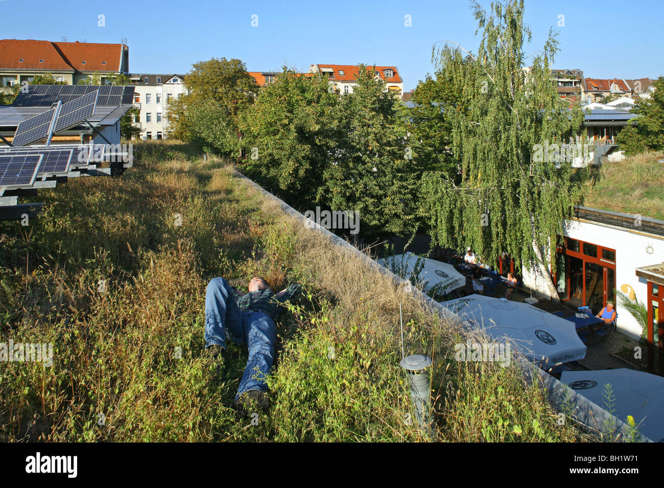 greened roof with solar panels, UFA, International Center for Culture and Ecology, Berlin - Stock Image