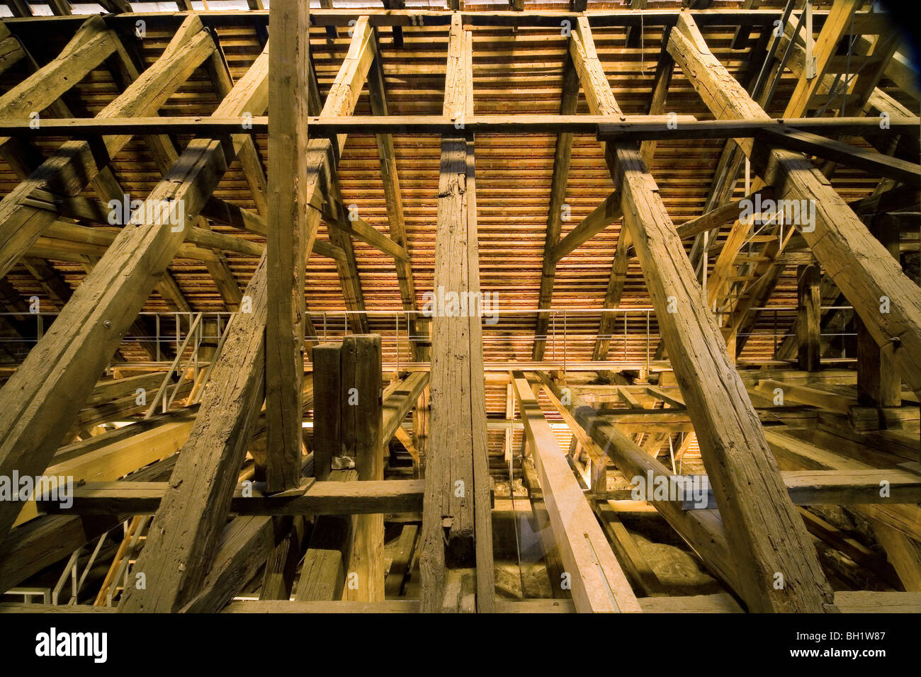historic roof timbers of the chapel of the Holy Ghost, Berlin - Stock Image