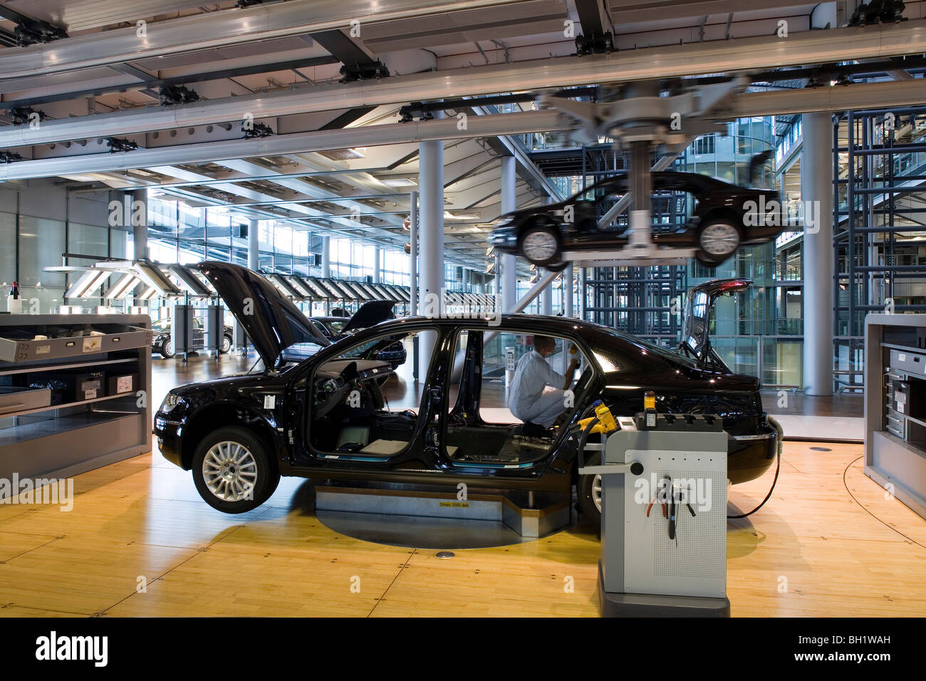 The transparent factory, automobile production plant owned by Volkswagen, modern factory designed to make the production - Stock Image