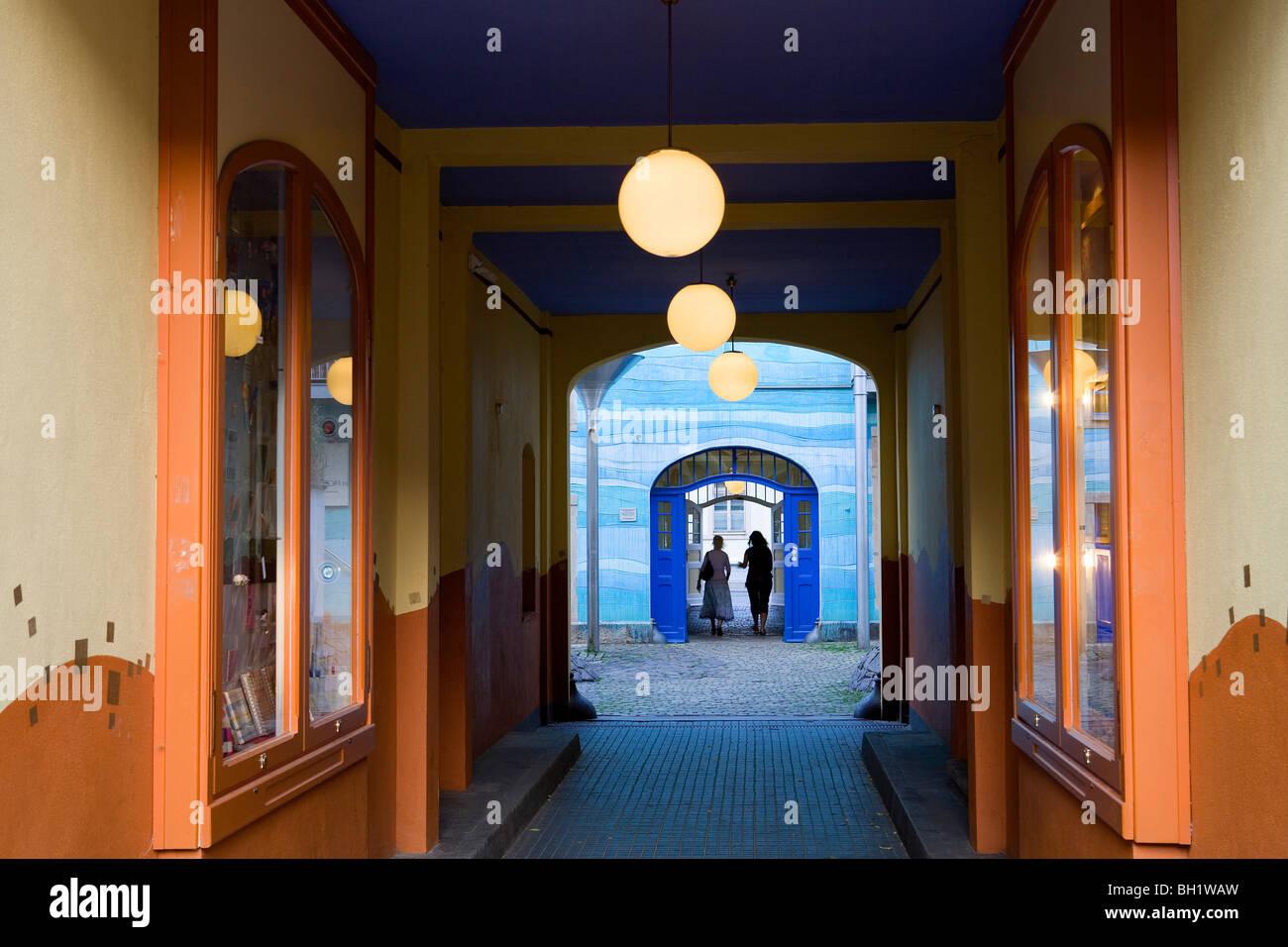 Courtyard of elements, Hof der Elemente in the Kunsthofpassage, Dresden, Saxony, Germany, Europe - Stock Image