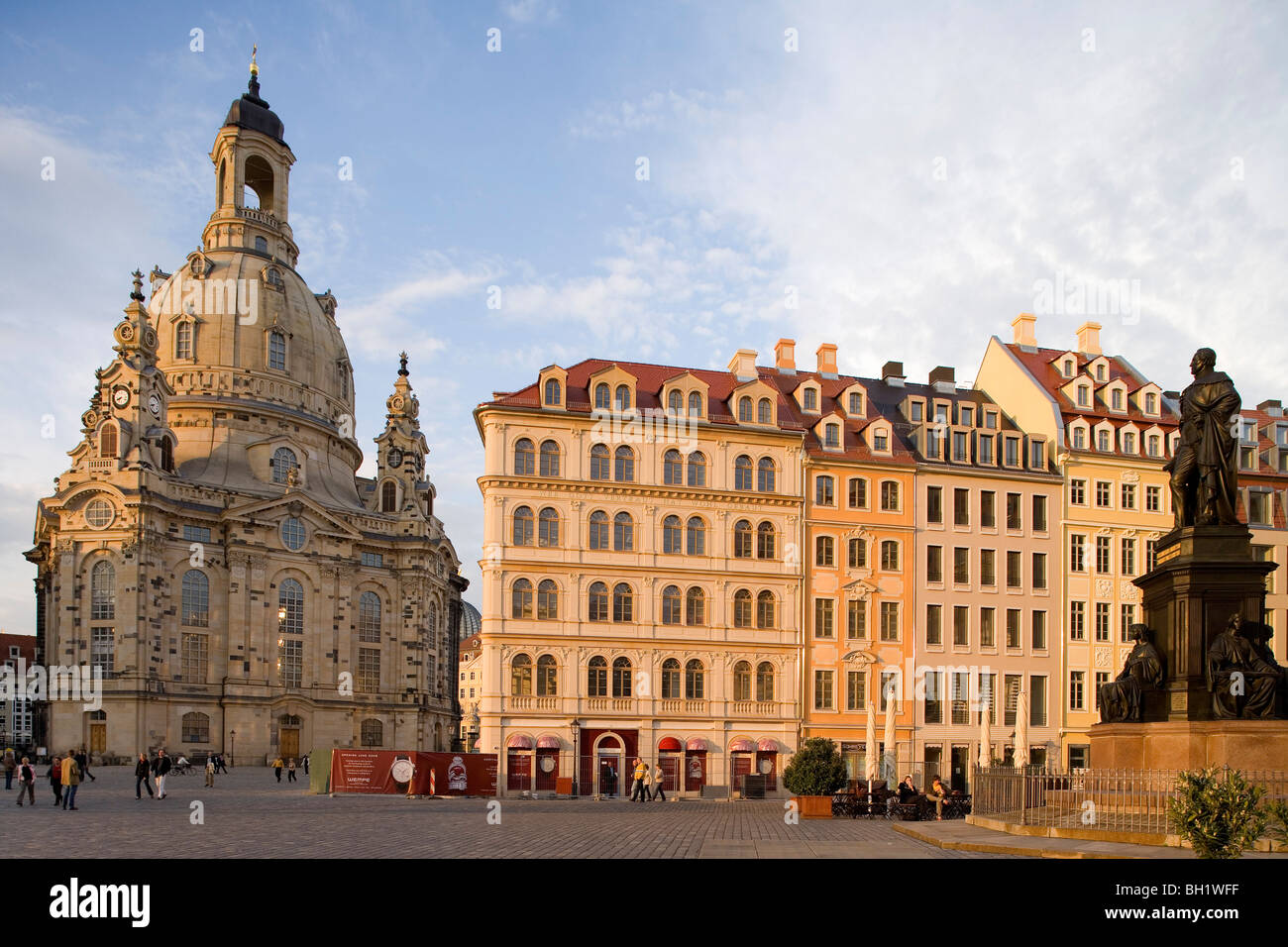 Neumarkt with Dresdner Frauenkirche, Church of Our Lady, Dresden, Saxony, Germany, Europe Stock Photo
