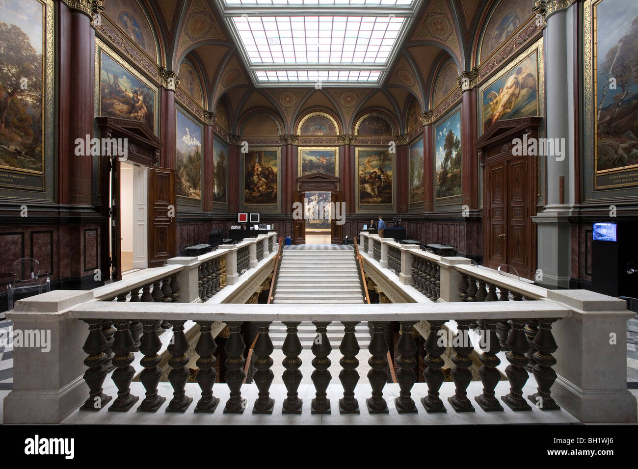 Staircase in the Hamburger Kunsthalle, Hanseatic city of Hamburg, Germany, Europe - Stock Image