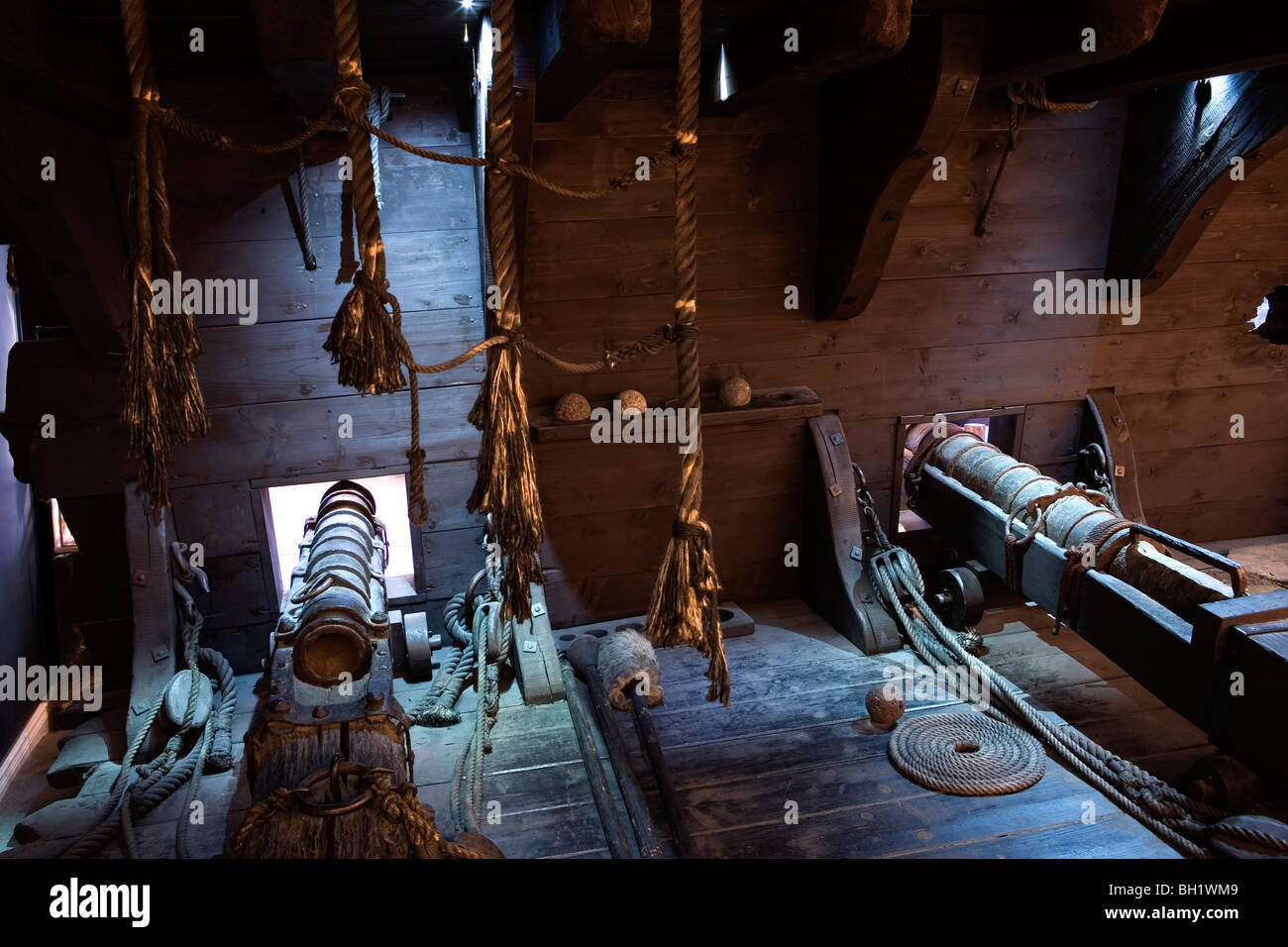 Interior view of a pirate's ship with cannons, Museum fuer Hamburgische Geschichte., Hamburg, Germany, Europe - Stock Image