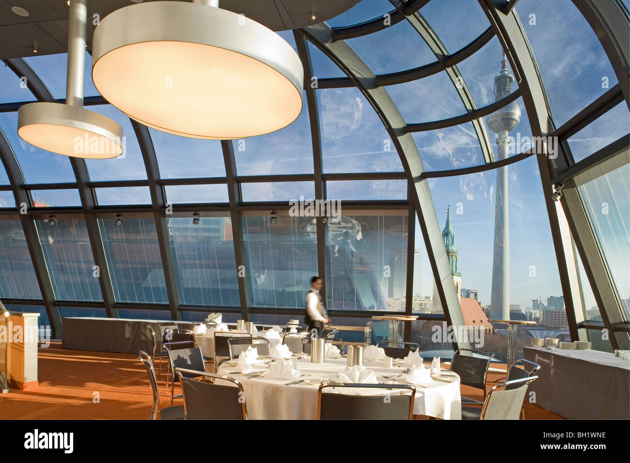 The DomLounge, Radisson SAS Hotel view of the TV Tower and city centre, Berlin, Germany - Stock Image