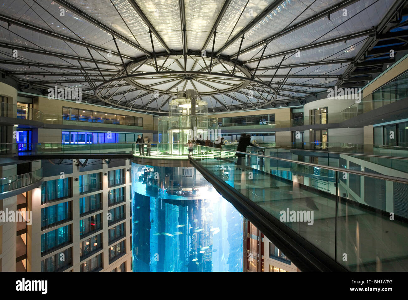 the 5 star Radisson SAS Hotel features the world's largest cylindrical aquarium, Berlin, entrance to Aqua Dom, - Stock Image