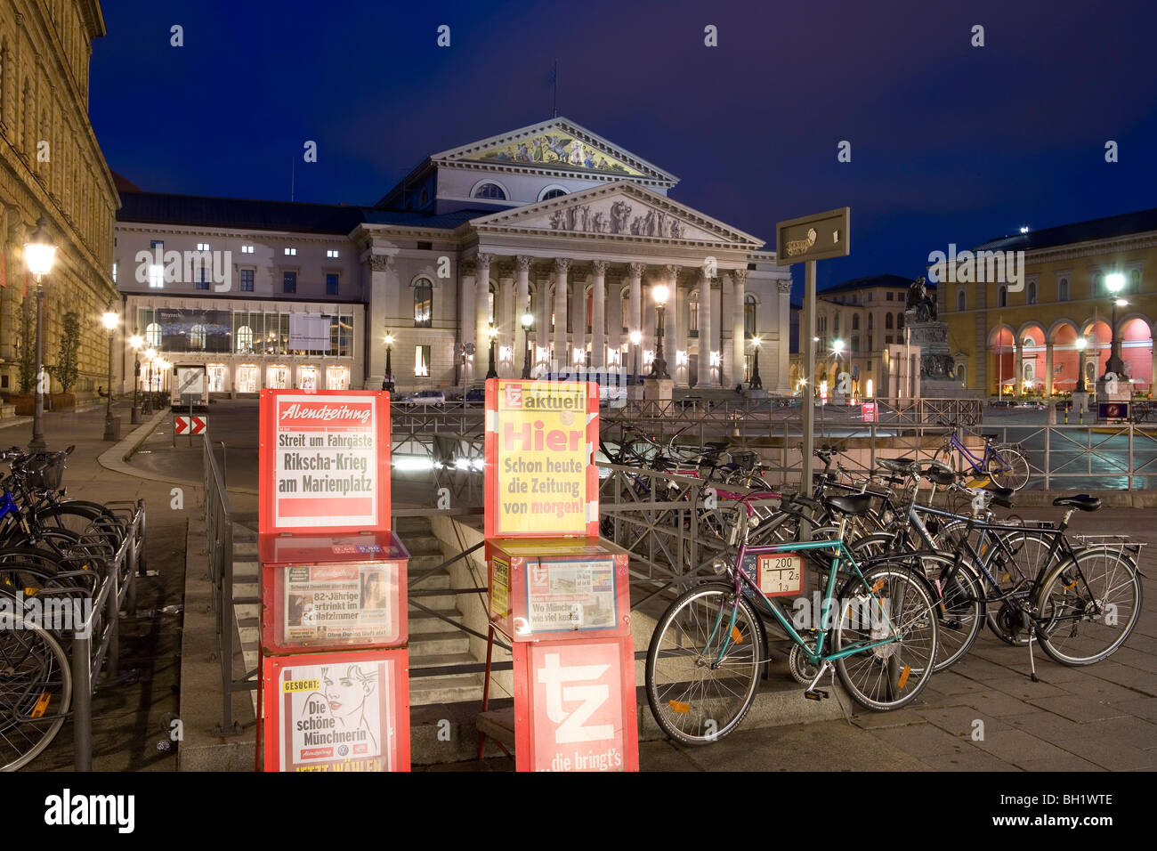 The National Theatre At Square Max Joseph Platz At Night, Munich, Bavaria