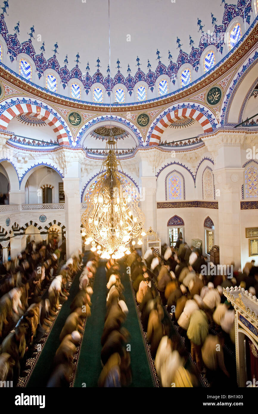 interior, Sehitlik Mosque in Neukoelln, the city's largest mosque, Berlin, Germany - Stock Image