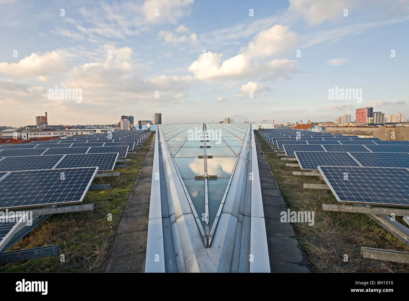 solar panels on the grass roof of the Willy-Brandt Haus headquarters of the SPD Social Democratic party Berlin, - Stock Image