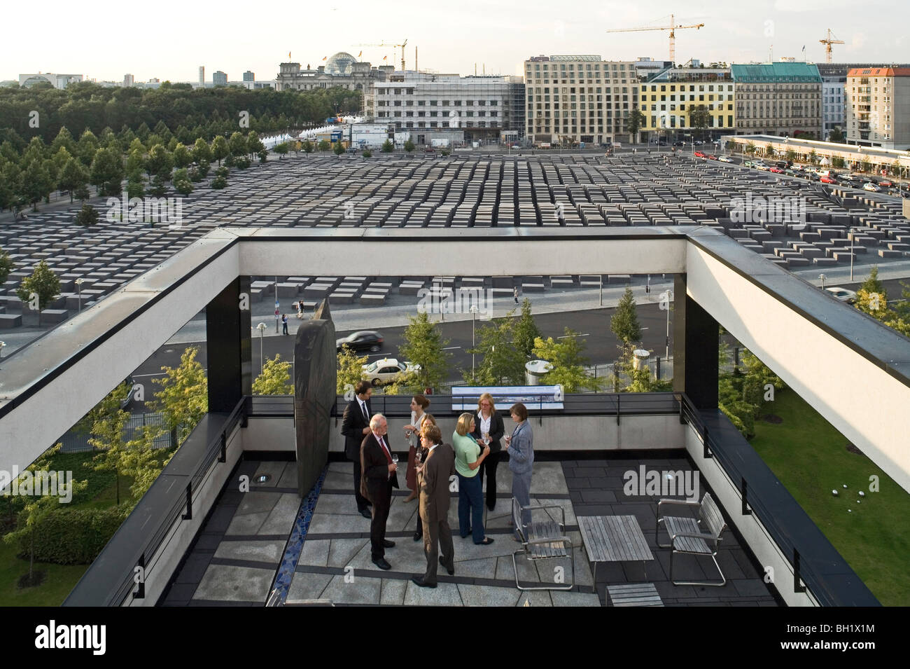on the roof terrace of Representation of the State of Rheinland Pfalz in Berlin, opposite the Memorial to the Murdered - Stock Image