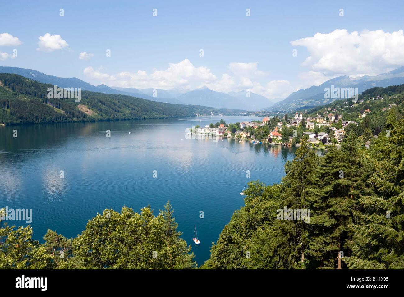View over Millstatt and Millstaetter See (deepest lake of Carinthia), Millstatt, Carinthia, Austria - Stock Image