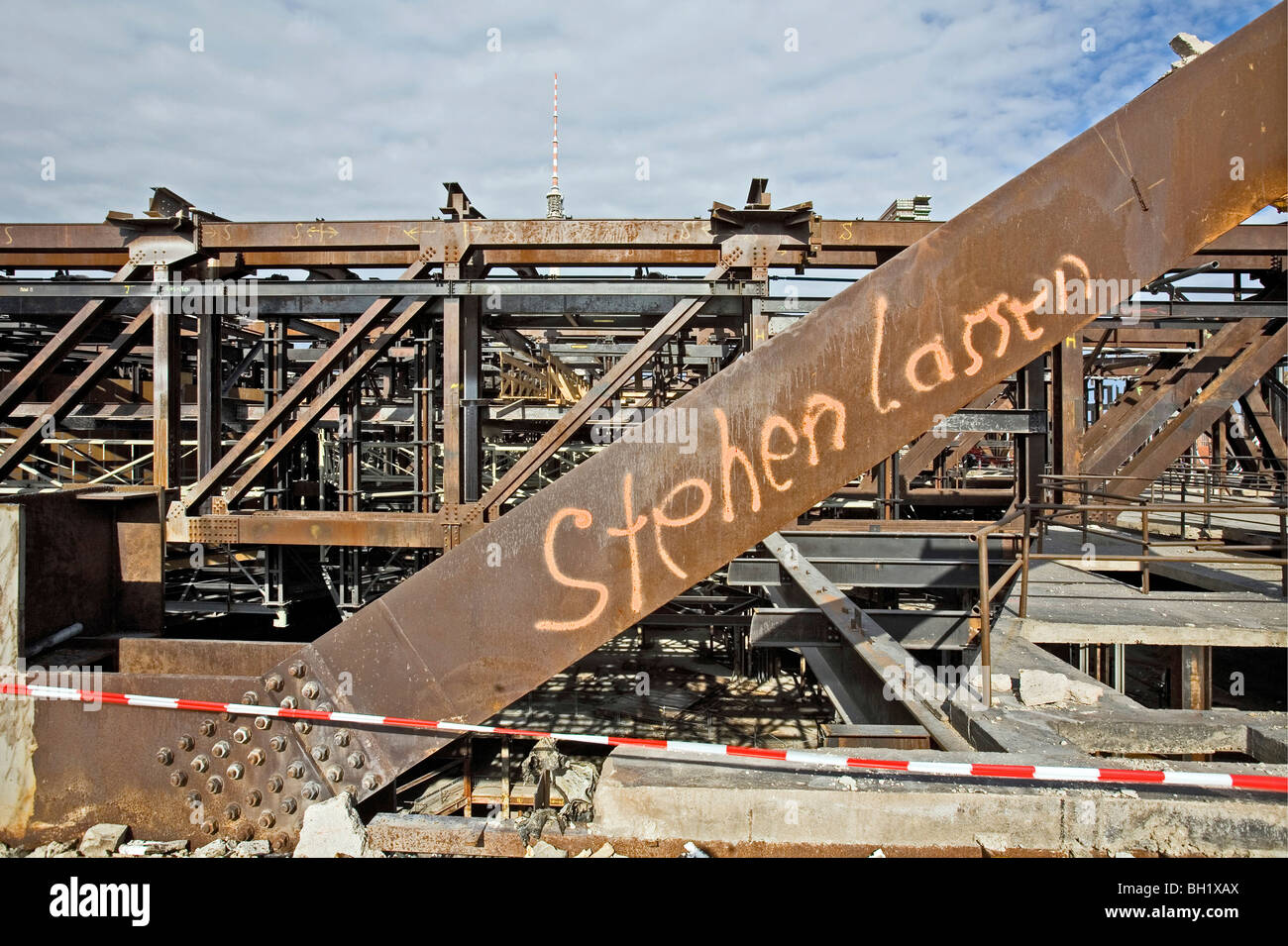 The Palast der Republik, Palace of the Republic, demolition started in February 2006, Berlin - Stock Image