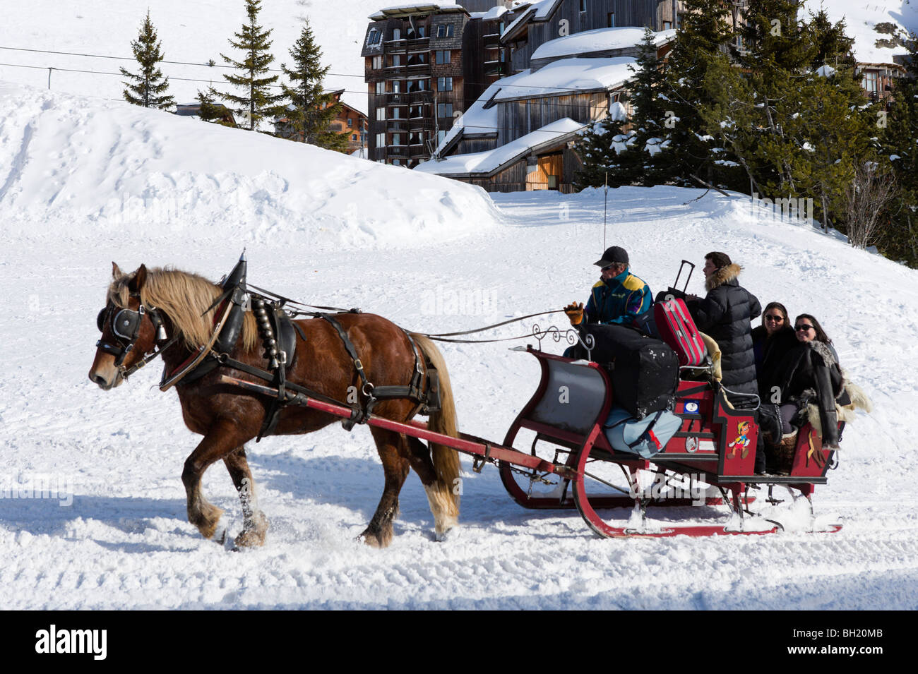 Horse and Sled used to transport luggage around the traffic free resort, Avoriaz, Haute Savoie, France - Stock Image
