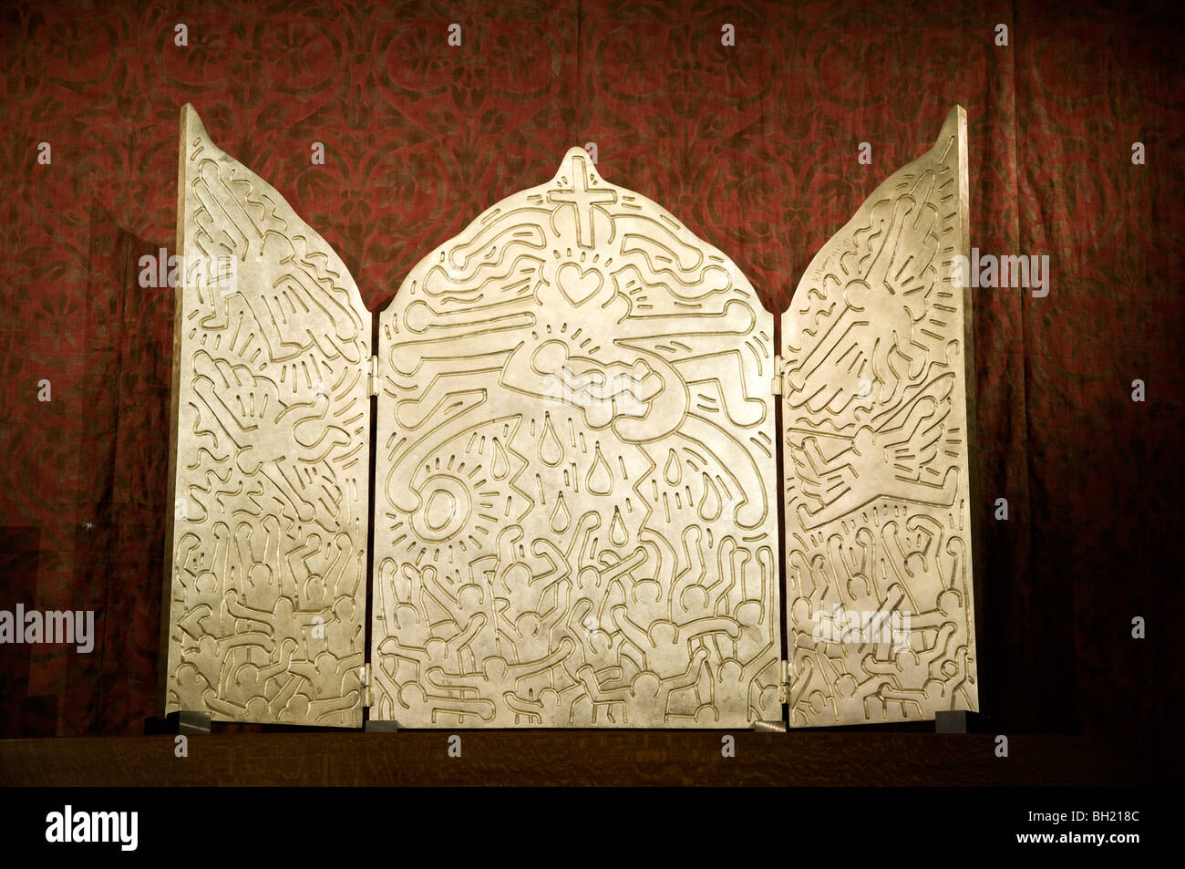The Life of Christ, bronze and white gold altarpiece by Keith Haring, AIDS Memorial Chapel, Grace Cathedral, San - Stock Image