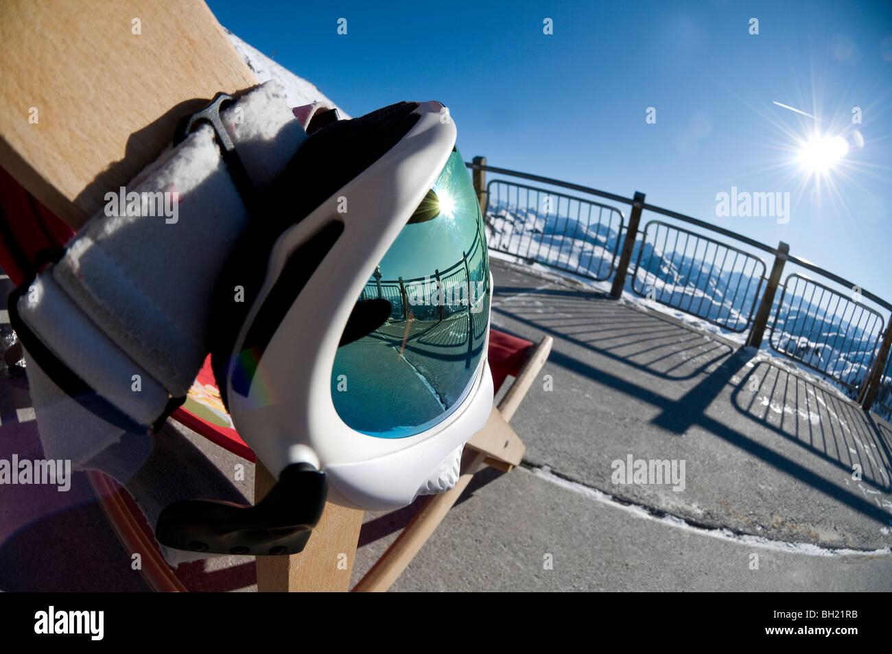 Skiing Goggles Hanging On Deck Chair, Kitzbuhel, Austria