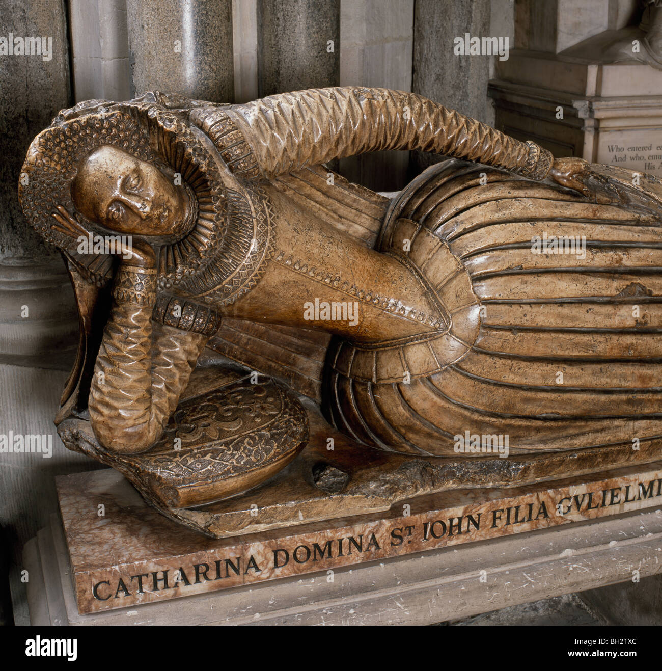 Westminster Abbey monument to Catherine Lady St John of Bletson d.1615. Alabaster and marble - Stock Image