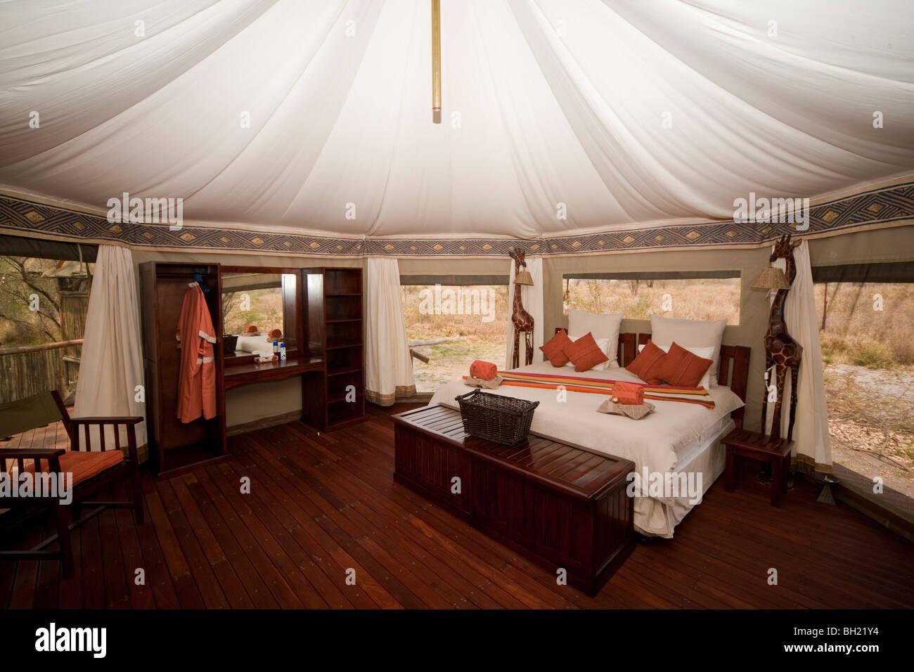 Interior of a luxury safari tent in Botswana. The photo was taken in Botswana's Chobe national park. - Stock Image
