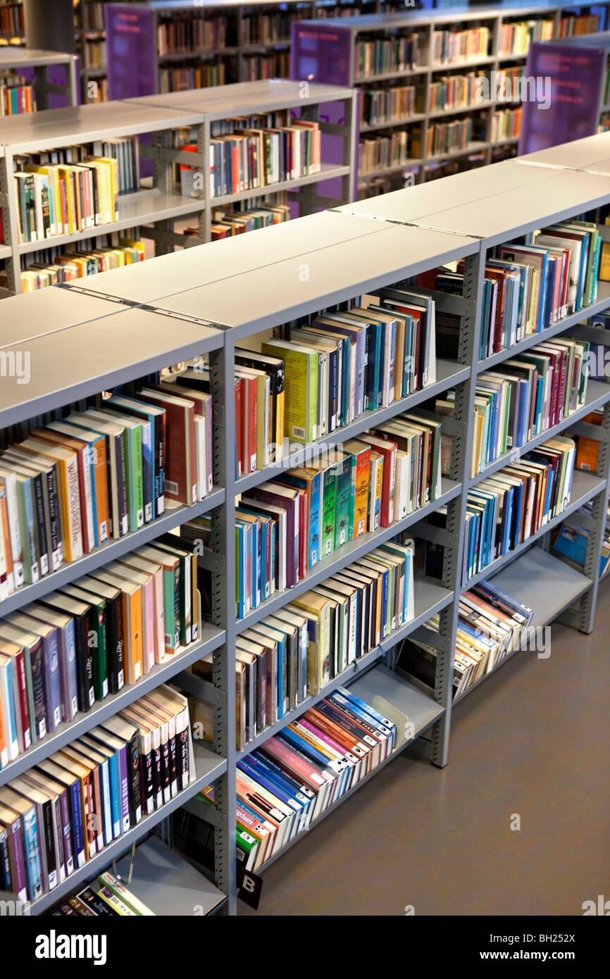 Books in the library - Stock Image