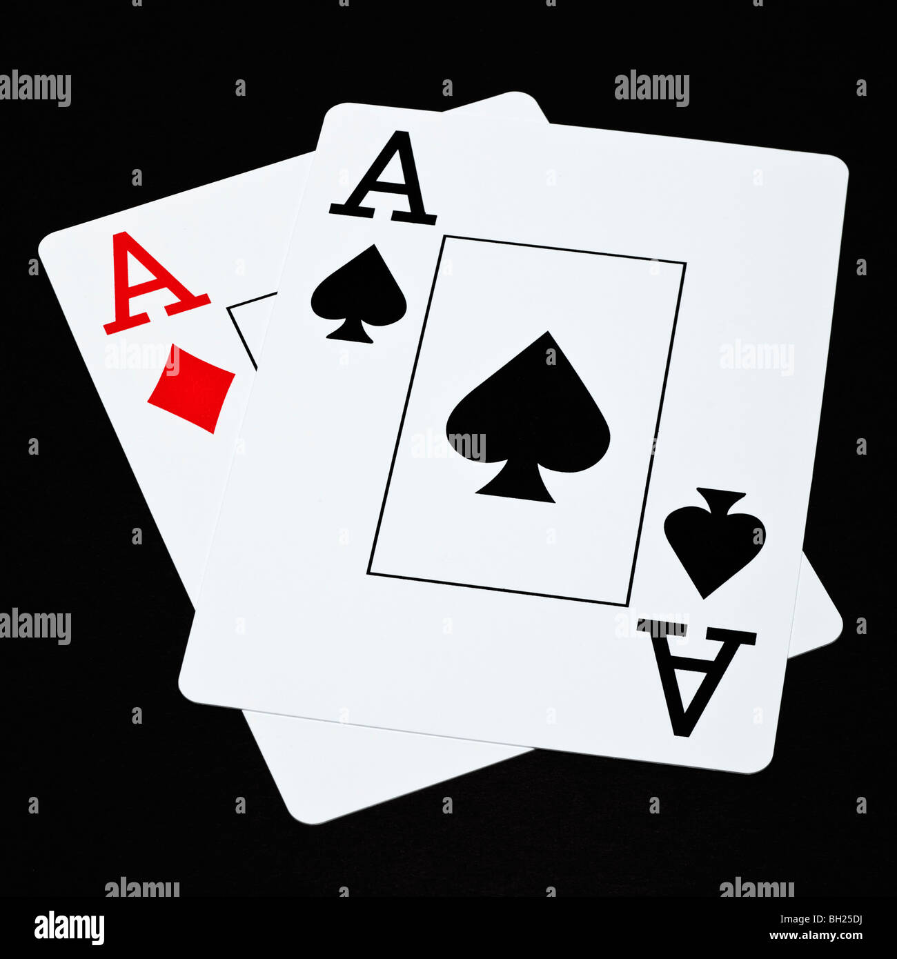 Poker cards showing a pair of aces hand - Stock Image