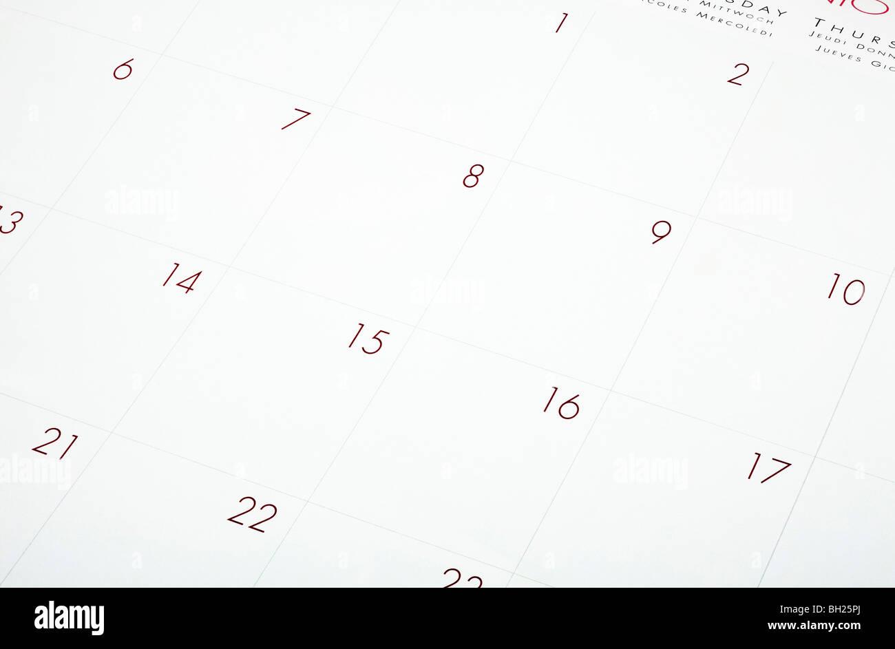 Blank calendar page close up - Stock Image