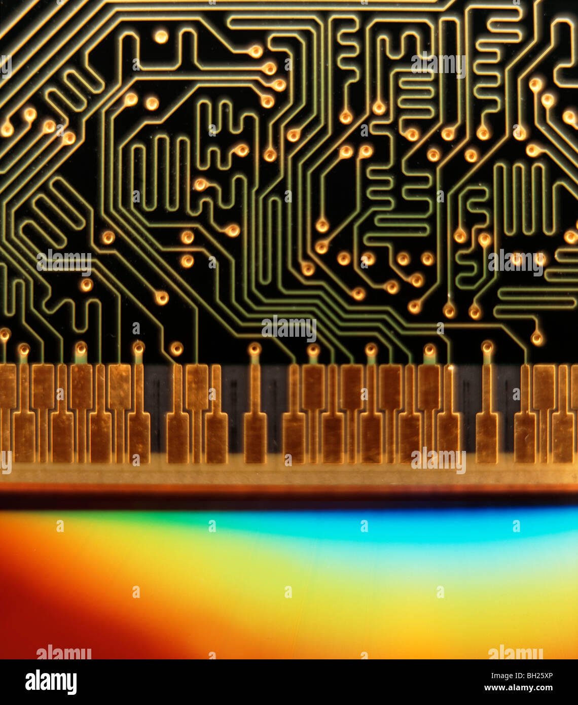 close up of computer memory ram chip - Stock Image