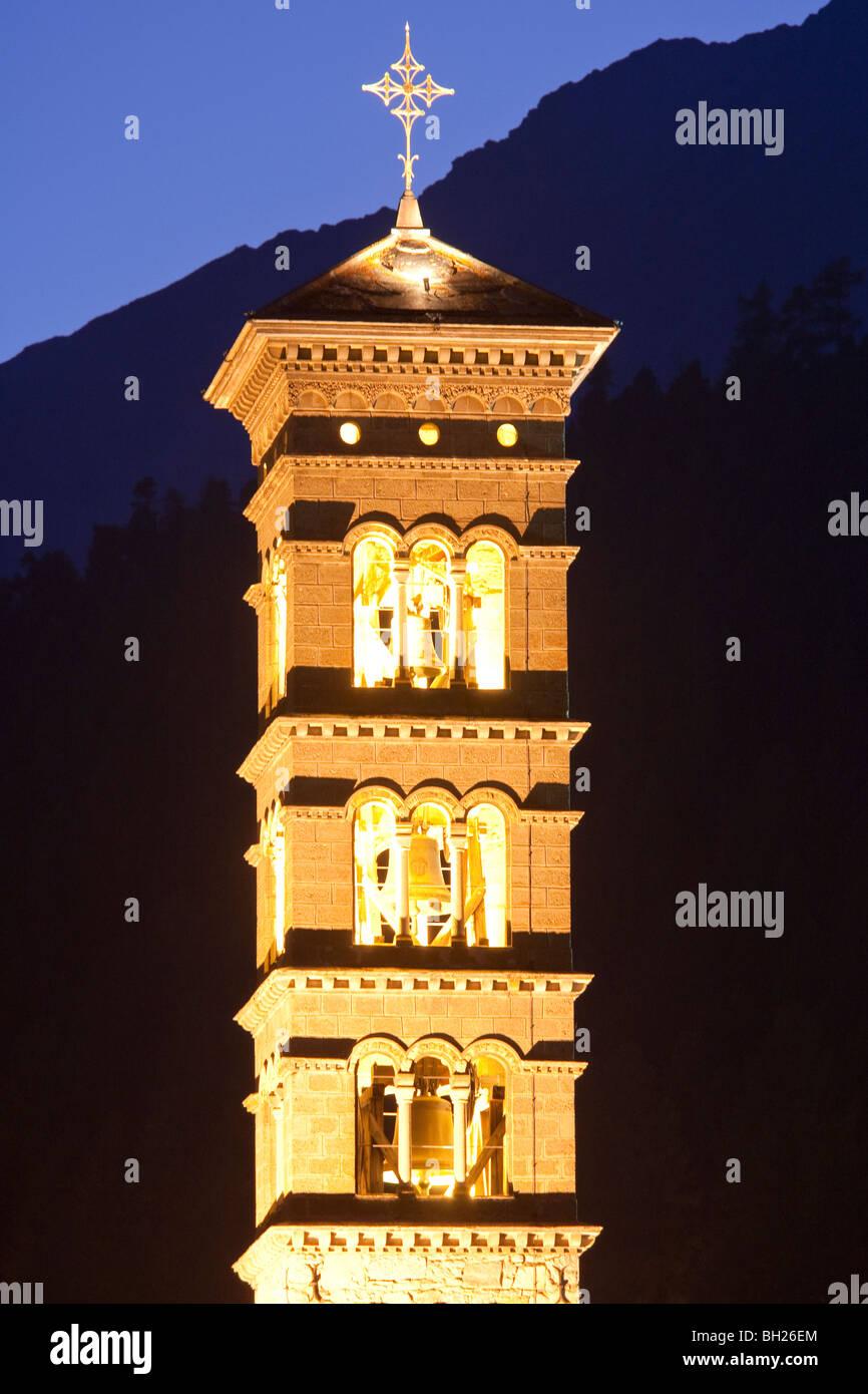 ROMANESQUE ST. KARL CHURCH, SPIRE, ST. MORITZ-BAD, ST. MORITZ, UPPER ENGADIN, ENGADIN, GRISONS, SWITZERLAND - Stock Image
