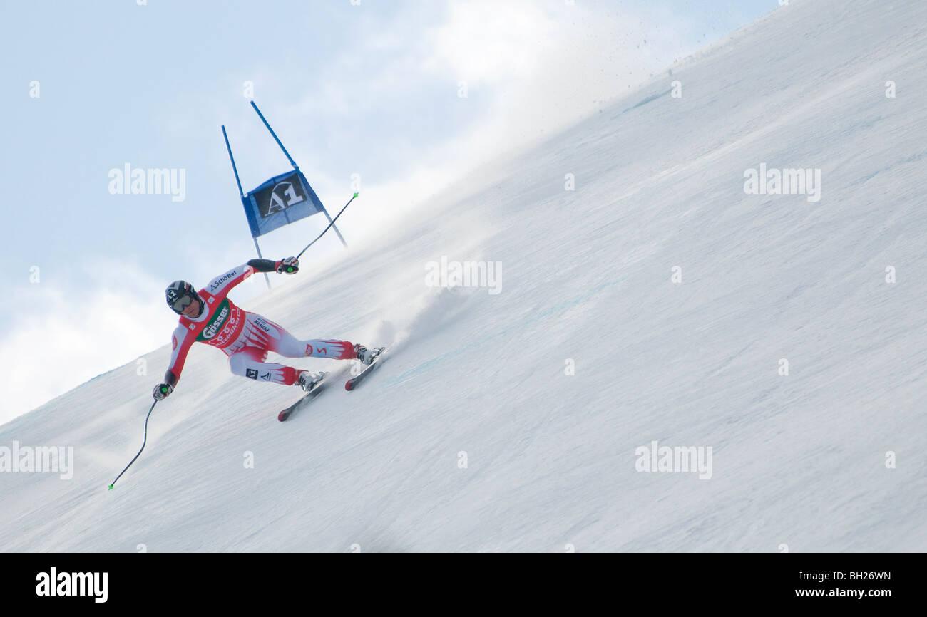 downhill skier, hahnenkamm, kitzbuhel, austria - Stock Image