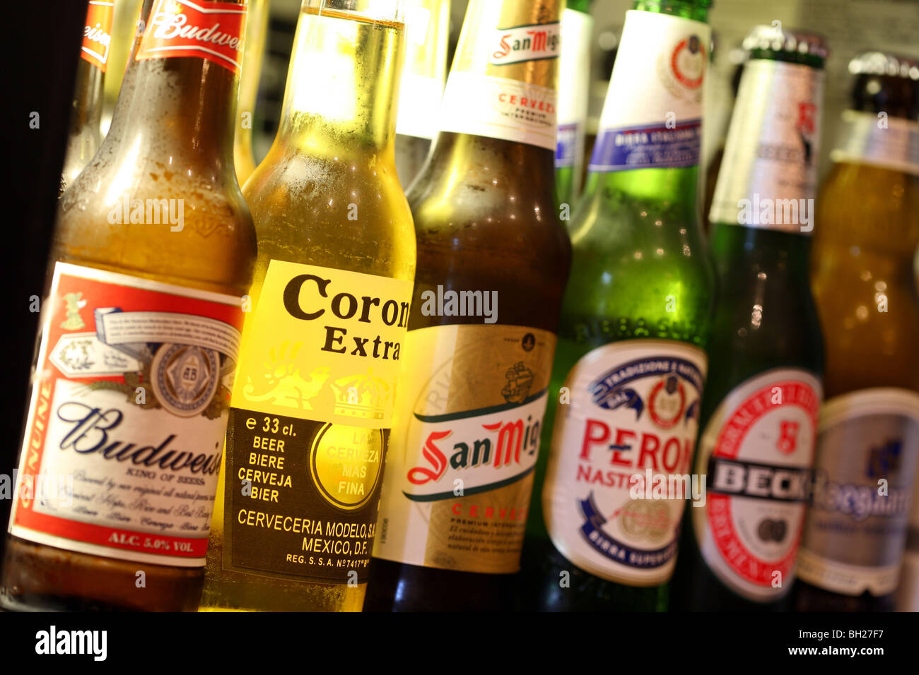 Row of bottle of various beers - Stock Image