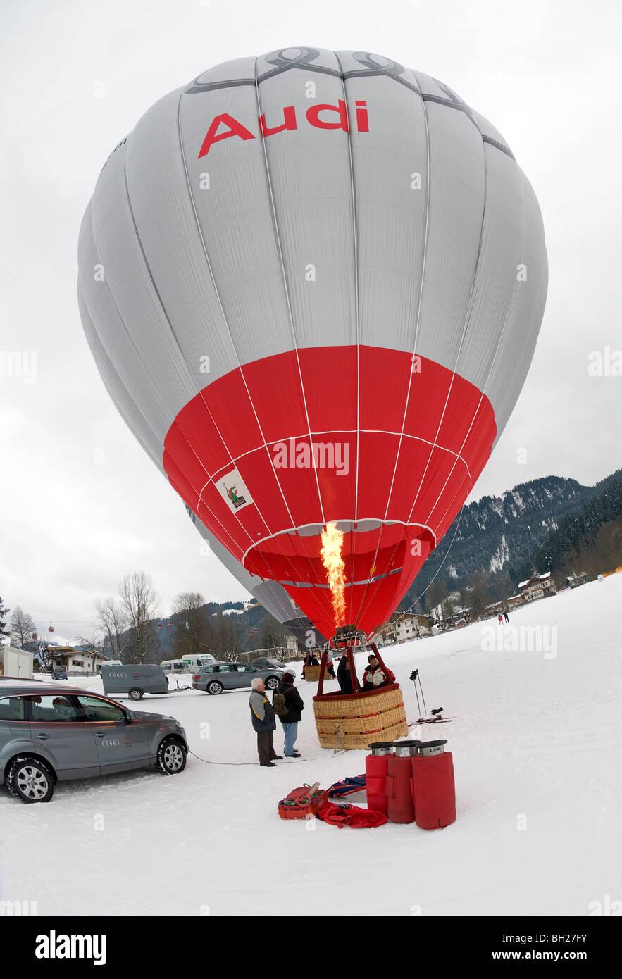 audi sponsored hot air balloon, kitzbuhel, austria - Stock Image