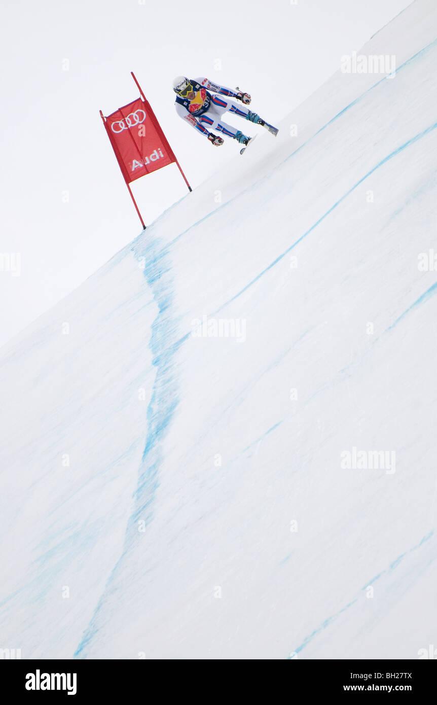 downhill skier, hahnenkamm run, kitzbuhel, austria - Stock Image