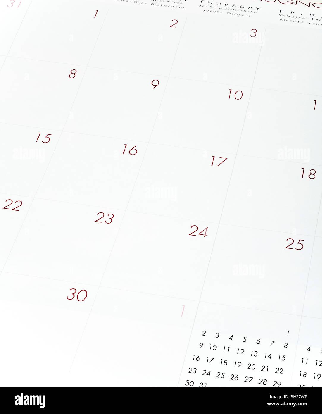 Calendar page close up - Stock Image