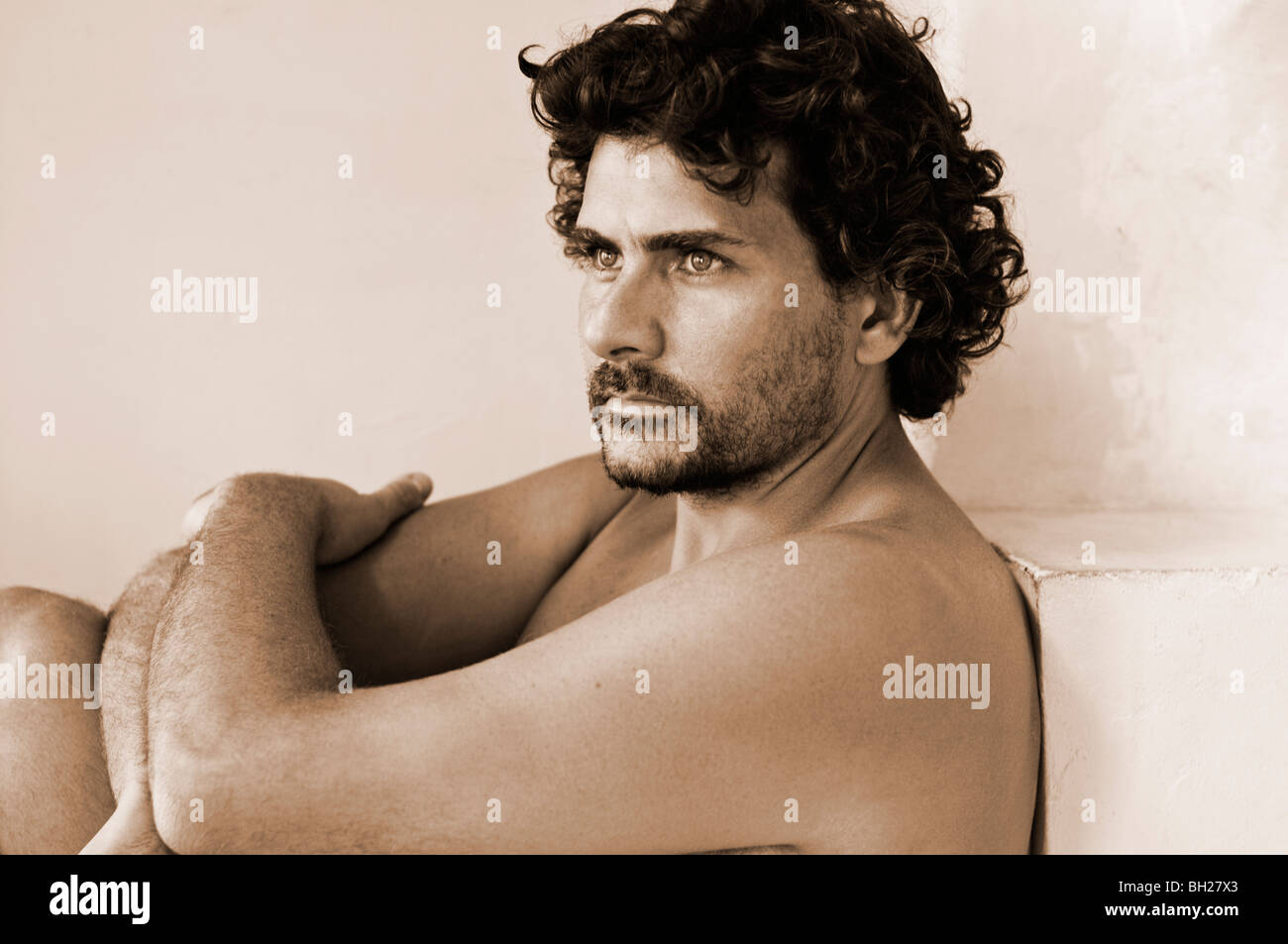 Handsome Young Male Nude With Curly Hair, Mustache And -2791