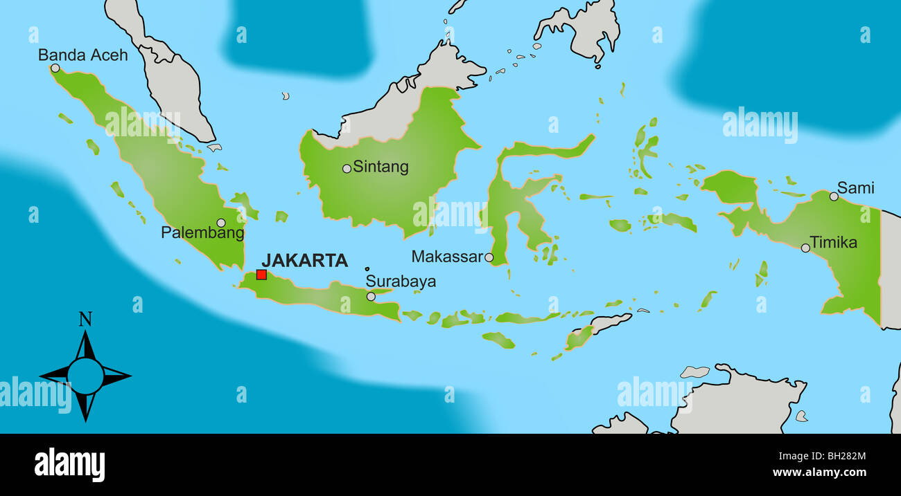 Indonesia map stock photos indonesia map stock images alamy a stylized map of indonesia showing different big cities as well as nearby countries gumiabroncs Images
