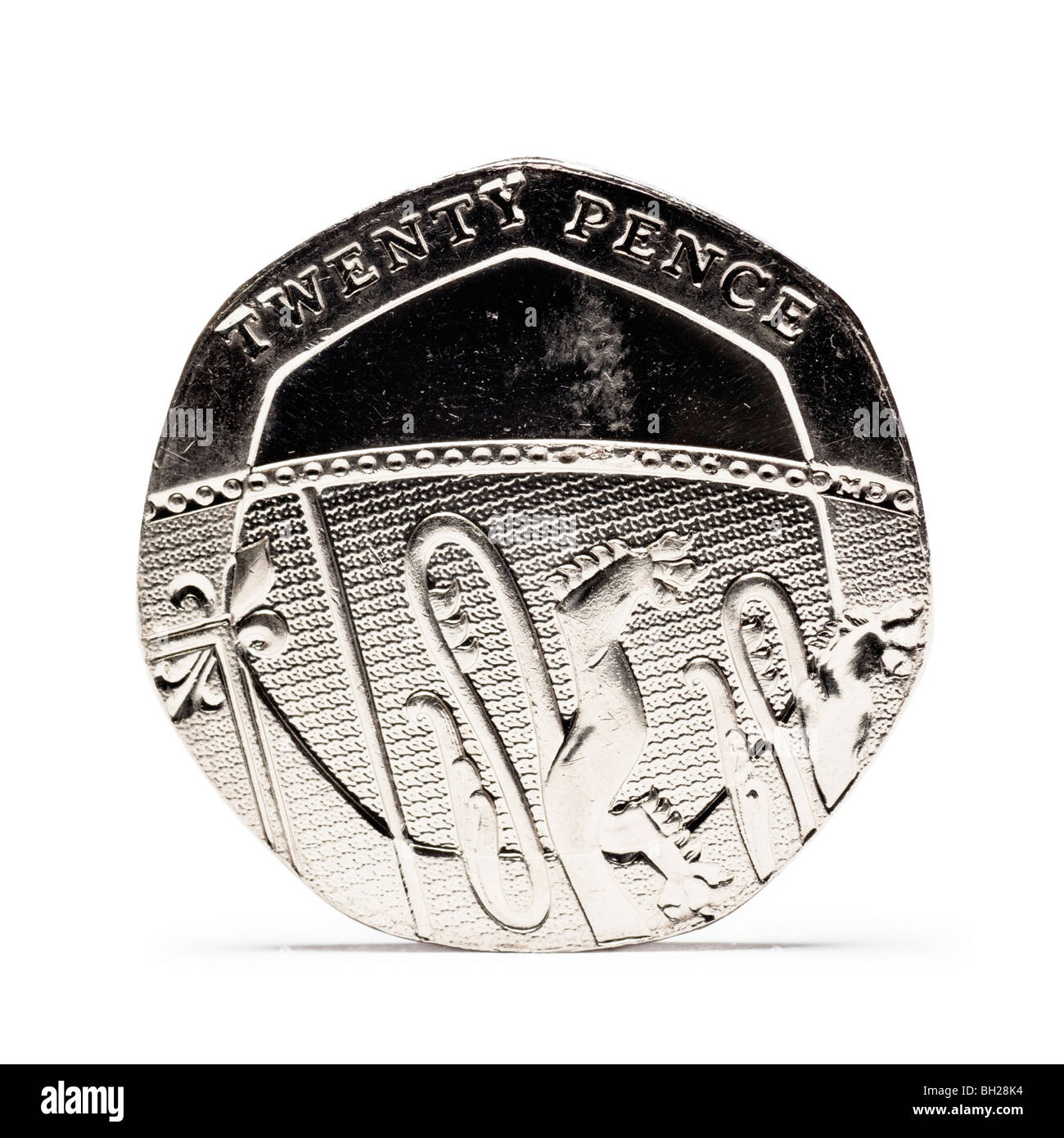 British Twenty Pence coin back view new design - Stock Image