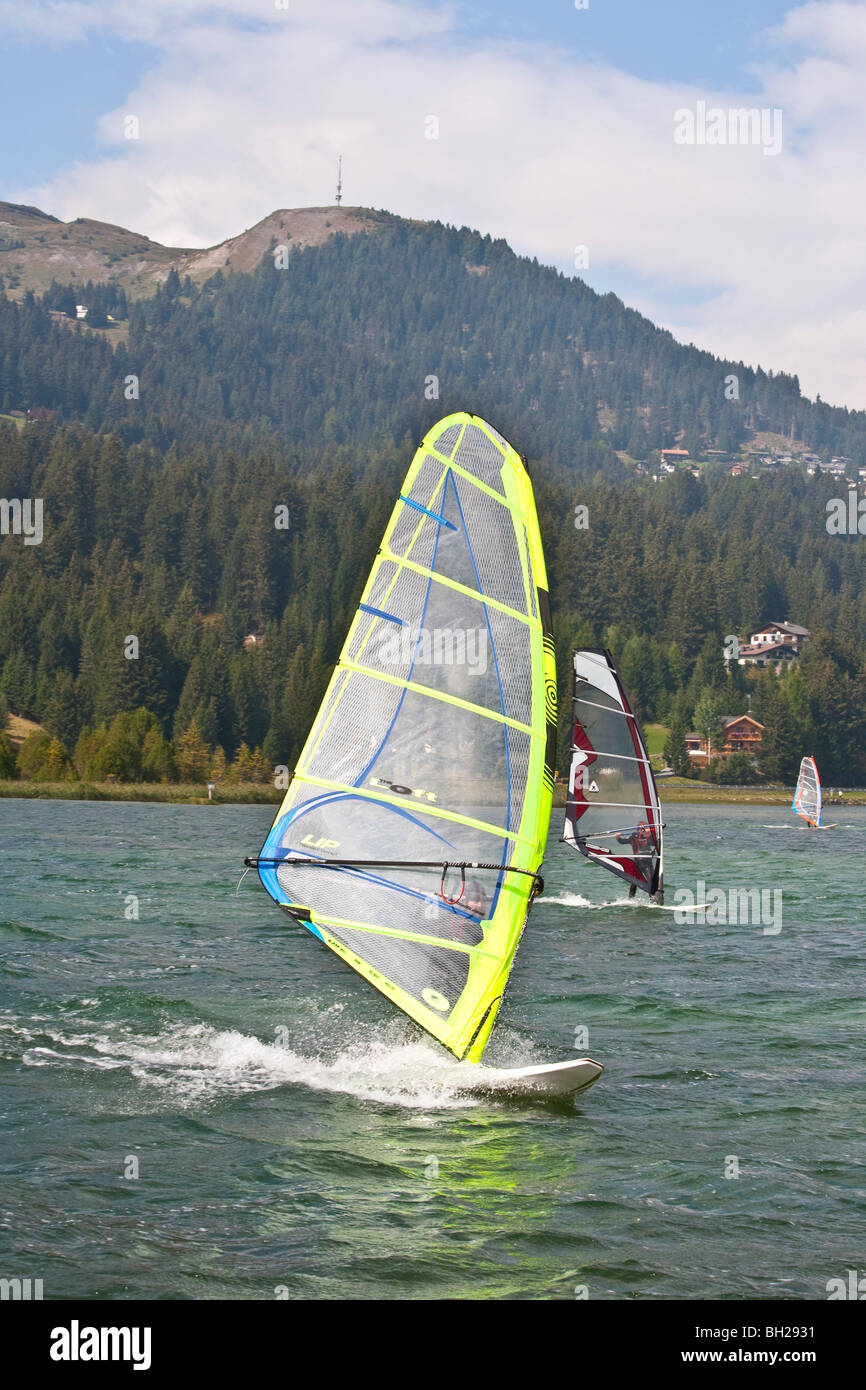 SAIL BOARDERS, HEIDSEE LAKE, LENZERHEIDE, GRISONS, SWITZERLAND Stock Photo