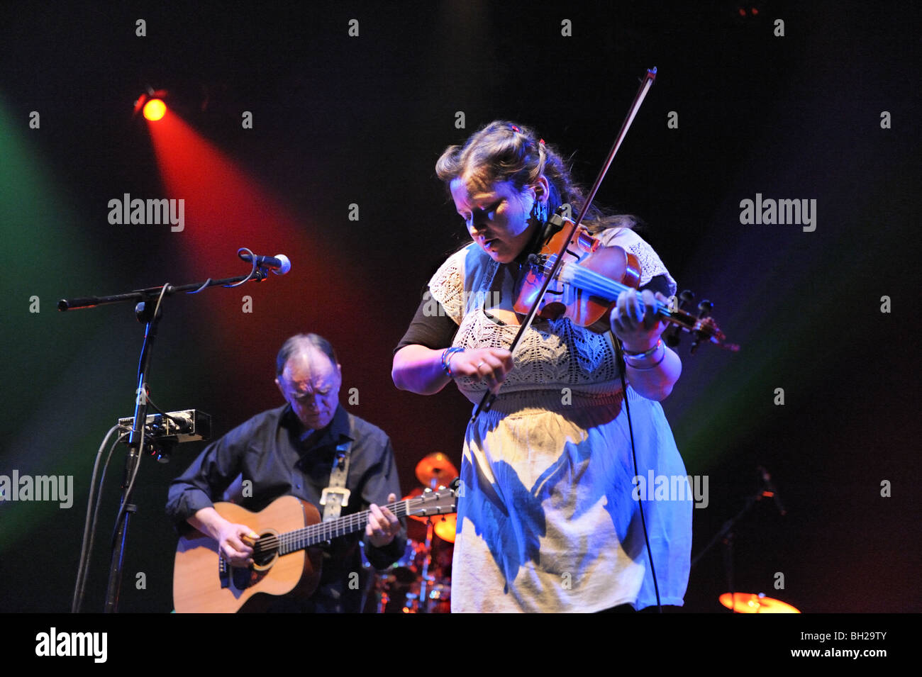Martin and Eliza Carthy perform with The Imagined Village band at the Theatre Severn , Shrewsbury, Shropshire, UK, - Stock Image