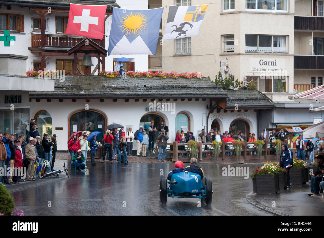 OLDTIMER, CLASSICCAR HILL CLIMB, CAR RACING, AROSA, GRISONS, SWITZERLAND - Stock Image